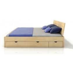 Masívna posteľ z buku s úložným priestorom