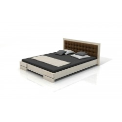 Borovicová manželská posteľ s čalúneným zadným čelom