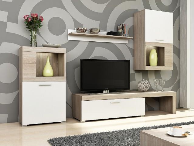 Obývačka vo farbe sonoma/biela FOLK